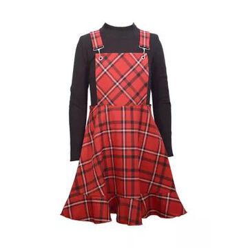 Bonnie Jean Girls' Girls 7-16 Plaid Jumper Dress With Turtleneck - -