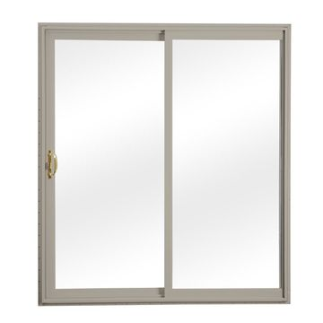 ReliaBilt Clear Glass Clay Vinyl Universal Reversible Double Door Sliding Patio Door (Common: 60-in x 80-in; Actual: 58.75-in x 79.5-in)