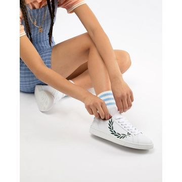 Fred Perry B721 printed laurel leather sneaker-White