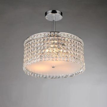 Garcia Chrome and Crystal Round 4-light Chandelier (Silver/Chrome)