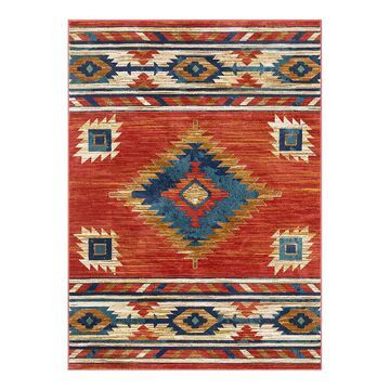 Well Woven Tulsa Lea Traditional Southwestern Distressed Area Rug, Red, 2X7 Ft