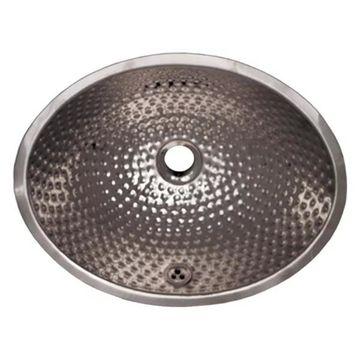 Whitehaus WH608ABM Oval Ball Pein Hammered Textured Undermount Basin