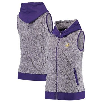Women's Antigua Heathered Purple Minnesota Vikings Fame Hooded Full-Zip Vest