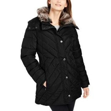 London Fog Puffer Coat With Faux-Fur Trim