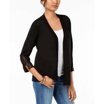 Open-Front Crochet-Trim Cardigan, Created for Macy's