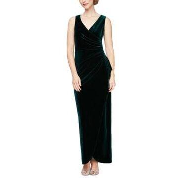 Alex Evenings Velvet Tulip-Overlay Gown