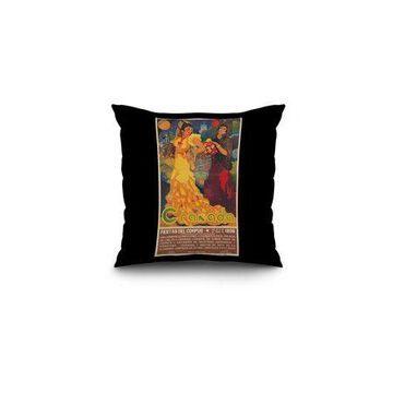 Granada Vintage Poster (artist: Reyes) Spain c. 1936 (16x16 Spun Polyester Pillow, Black Border)