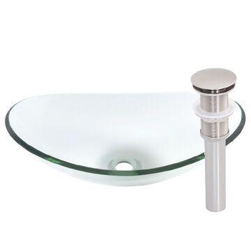 Novatto Chiaro Glass Vessel Bathroom Sink Set, Brushed Nickel