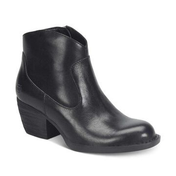 Born Womens Carmel Booties Leather Almond Toe Ankle Cowboy