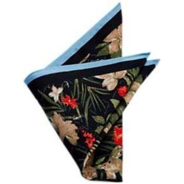 Egara Black Floral Pocket Square