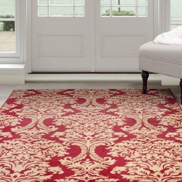 Somerset Home 8' x 10' Oriental Style Area Rug, Red and Gold