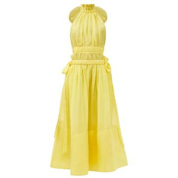 Zimmermann - Luminous Open-back Linen-blend Dress - Womens - Yellow