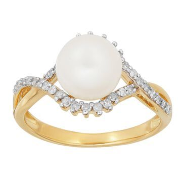 Sofia Sofia Womens 1/5 CT. T.W. Genuine White Cultured Freshwater Pearl 10K Gold Cocktail Ring