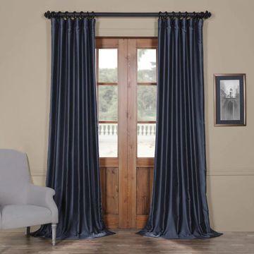 Exclusive Fabrics Yarn Dyed Faux Dupioni Silk Curtain Panel