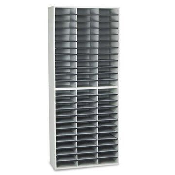 Fellowes Mfg. Co. Literature Organizer, 72 Letter Sections, 29 X 11 7/8 X 69 1/8, Dove Gray