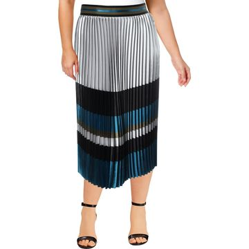 Elie Tahari Womens Tamsen Satin Colorblock Pleated Skirt