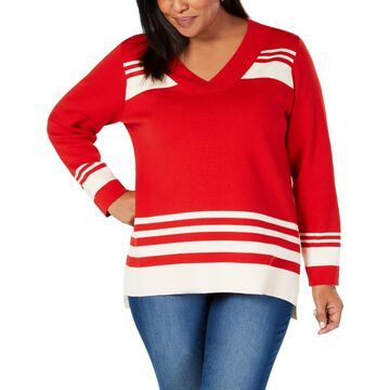 Charter Club Womens Plus Striped V-Neck Pullover Sweater