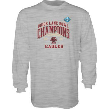 Boston College Eagles Blue 84 2016 Quick Lane Bowl Champions Long Sleeve T-Shirt - Heathered Gray