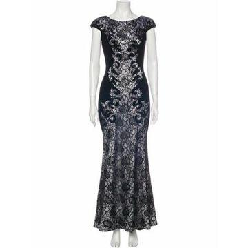 Lace Pattern Long Dress Black