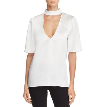 Paige Womens Cateline Textured V-Neck Blouse