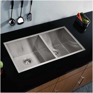 """33""""X20"""" 60/40 Double Bowl 16g SS Undermount Kitchen Sink"""