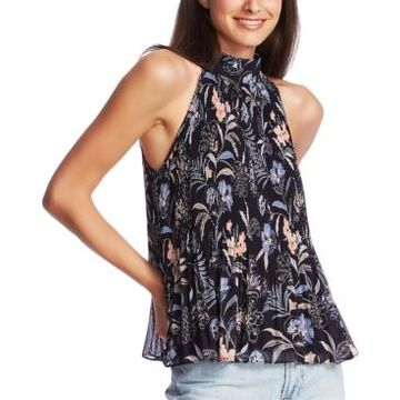 1.state Pleated Paisley Halter Top