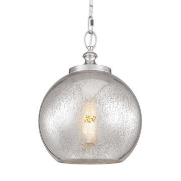Feiss Tabby Polished Nickel Modern/Contemporary Mercury Glass Globe Mini Pendant Light