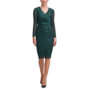 Jessica Howard Surplice Lace Sheath Dress