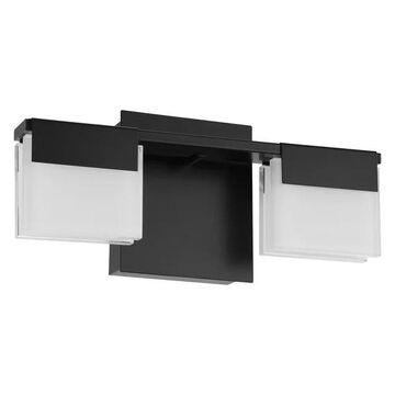 2-Light, 15.5W LED Bath/Vanity Light, Matte Black/Frosted Glass