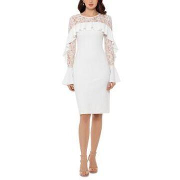 Betsy & Adam Ruffled Lace-Yoke Sheath Dress