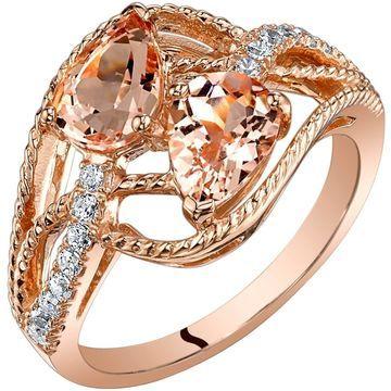 Oravo 14K Rose Gold Two Stone Morganite Ring Pear Shape 1.50 Carats