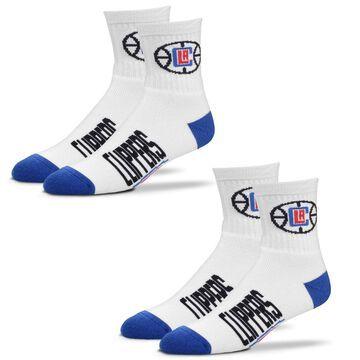 LA Clippers For Bare Feet Women's 2-Pack Quarter-Length Socks