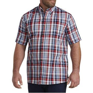 Big & Tall Harbor Bay Easy-Care Large Plaid Sport Shirt - Peacoat