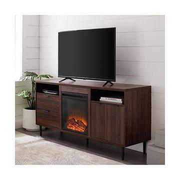 Walker Edison Console and Sofa Tables Dark - Dark Walnut 60'' Modern Storage Fireplace Console