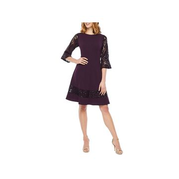 R & M Richards 3/4 Sleeve Fit & Flare Dress-Petite