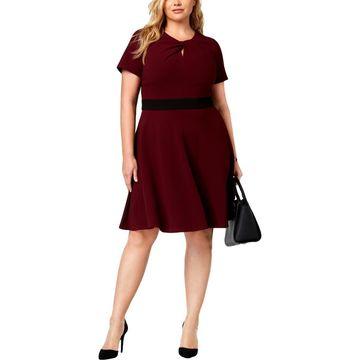 Taylor Womens Plus Twisted Stretch Wear to Work Dress