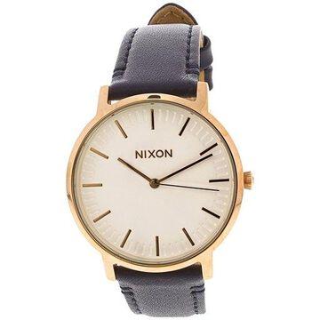 Nixon Men's Porter A10582941 Rose-Gold Leather Japanese Quartz Dress Watch