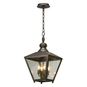 Mumford, Outdoor Pendant, Incandescent, Bronze Finish, Clear Seeded Glass