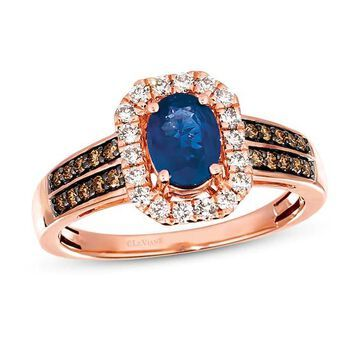 Le Vian Sapphire Ring 3/8 ct tw Diamonds 14K Strawberry Gold