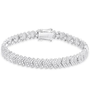 Finesque Sterling Silver 2 ct TDW Diamond Bracelet (OSB696-RP)