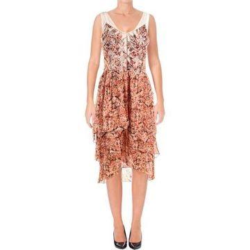Kobi Halperin Womens Jolene Chiffon Embroidered Midi Dress