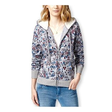 Almost Famous Womens Faux-Shera-Trim Hoodie Sweatshirt