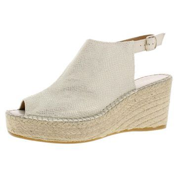 Andre Assous Womens Lina Leather Peep Toe Espadrille Heels