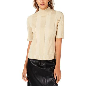 XOXO Womens Metallic Mock Neck Pullover Top