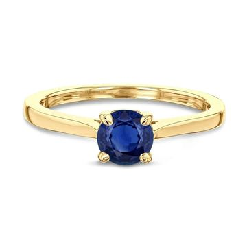 Annello by Kobelli 14k Gold 5mm Round Blue Sapphire Taper Shank Cathedral Solitaire Ring
