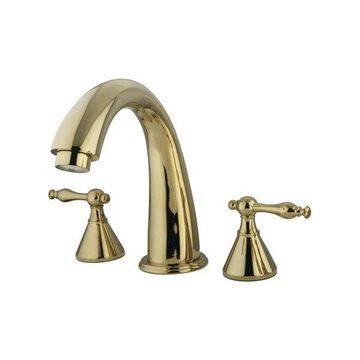 Kingston Brass Naples Two Handle Roman Tub Filler, Polished Brass