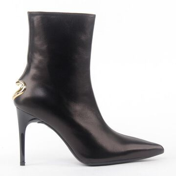 Love Moschino Smooth Leather Ankle Boots With Gold Detail