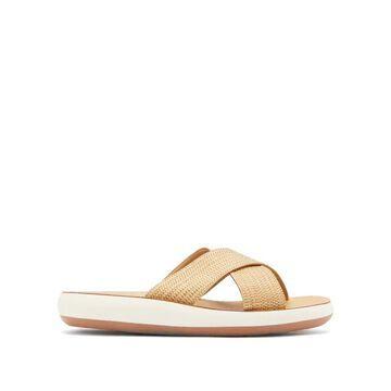Ancient Greek Sandals - Thais Crossover-strap Woven-raffia Slides - Womens - Tan