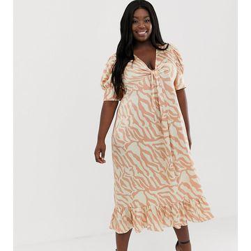 0be80ad3ce93 ASOS DESIGN Curve knot front midi dress in natural zebra print