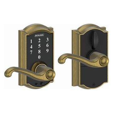 Schlage FE695-CAM-FLA Camelot Touch Entry Leverset, Antique Brass